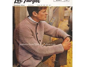 Mans retro sixties jacket cardigan crochet pattern Nehru jacket Vintage mod menswear man's Crochet Pattern PDF 941 from WonkyZebra