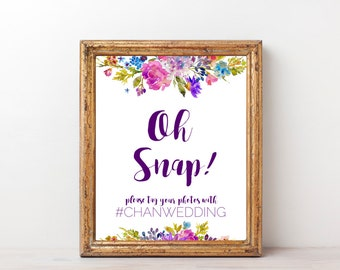Garden Oh Snap Wedding Sign Template: A Printable Purple Floral Social Media Hashtag Sign, DIY Digital Instant Download Editable PDF K003
