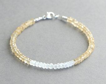 Citrine Bracelet With Moonstone November Birthstone Gemstone Bracelet Beaded Bracelet Stacking Bracelet