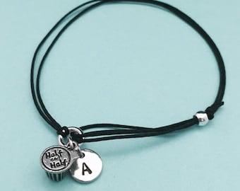 Half and half cord bracelet, half and half charm bracelet, adjustable bracelet, charm bracelet, personalized bracelet, initial, monogram