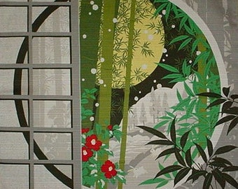 Quitling Fabric Japanese Furoshiki Cloth 'Japanese Winter' Cotton 50cm w/Free Insured Shipping