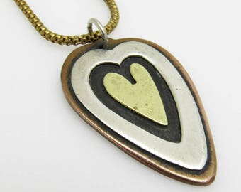 Mixed Metals Heart Necklace Vintage Far Fetched Jewelry