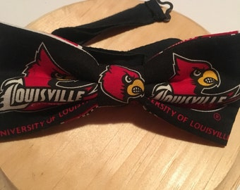 Univ of Louisville bow tie, Louisville Cardinals, graduation gift, alumni gift, groomsmen gift. Pre-tied with adjustable strap 18""