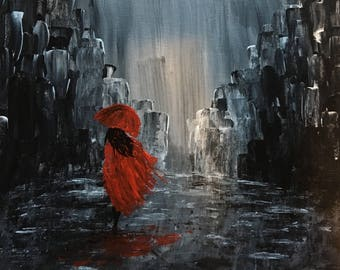 Acrylic pictures: Woman walking in rain