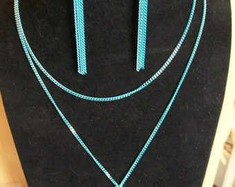 Blue necklace with chain necklace blue, dangle earrings
