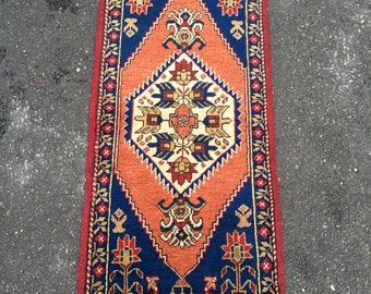 Turkish handmade wool pile rug salmon blue double knot