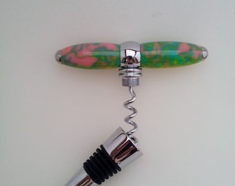 Handcrafted combination Corkscrew/ Wine Stopper, Acrylic, chrome