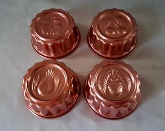 4 Mini Copper Color Jello Molds - Set of 4