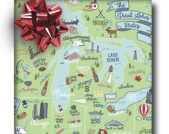 Great Lakes Map Wrapping Paper