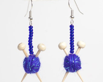 Knitting Needles and Ball of Wool Earrings - Sparkly Purple Yarn for Knitters