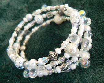 """White, Silver, and Irridescent Teardrop Wrap Bracelet on Silver Memory Wire (2.5 inch diameter) """"Ice Princess"""""""