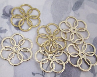 30 pcs. vintage gold tone flexible plastic flower charms / beads 27mm - f2843