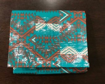 Blue and peach duct tape accordion wallet