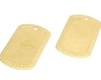 Brass Military Blank, 6 Raw Brass Military Tags (50x28x0.80mm) B-6