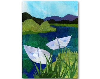 Paper Boats - All Occasion Greeting Card or Party Invitation - Available as a Print with a custom-cut Mat - Child's Room Decor (CMEM2013007)