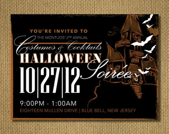PRINTABLE | Halloween Party Invitation, Personalized Printable Invitation, You Print, 7x5