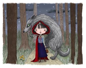 Little Red Riding Hood - 8 1/2 x 11 Illustration Print
