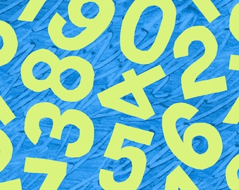 Happy Birthday Numbers on Blue From Andover Fabrics by Eric Carle