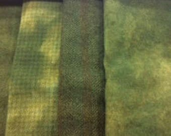 Silver Khaki Green, 4 different textures, 1/16 each for a total of 1/4 yd