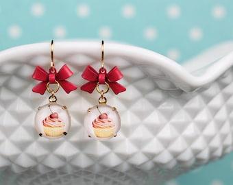 Cherry-Cupcake Earrings ribbon Cupcake Pink