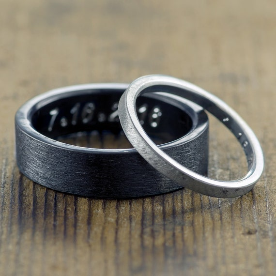Eco Friendly Wedding Band Set Sterling Silver