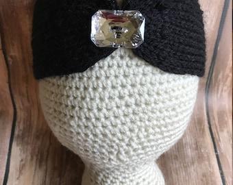 Girl Toddler Headband, Girl Ear Warmers, Toddler Headband, Winter Gear, Knit Headband, Girl Headband Black with Gem