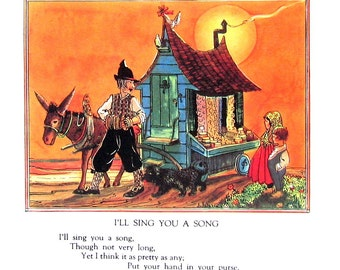 I'll Sing You a Song  - Mother Goose Rhyme - 1944 Vintage Page 7.5 x 8