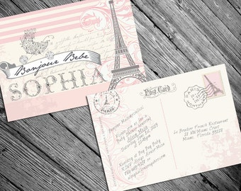 Paris French Themed baby shower invitation- Printable