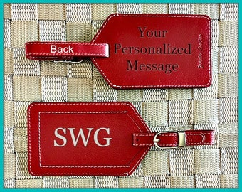 Bag tags, personalized baggage tags, monogram luggage tags, luggage tags personalized, custom luggage tags, passports red*