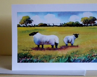 Art Greetings Card, or Note Card, from My, Original Watercolour, Landscape, Sheep, In Meadow, Blank inside, size A5, Art And Collectibles