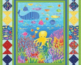 "Studio E - Alpha Fish - Kit - Uder the Sea Panel and Kit - Sea Creatures - 53"" x 61"" Finished Quilt top - Quilt Kit"