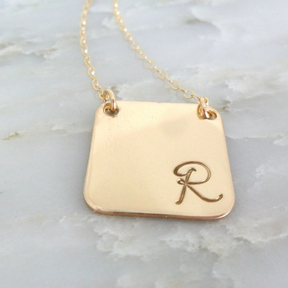 Script Initial Necklace   Sterling Silver or Gold Fill   Rounded Square   Initial Jewelry   Custom Initial Necklace   Personalized Jewelry