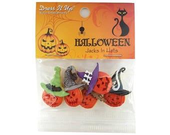 Jacks in Hats Halloween Pumpkins Novelty Buttons Jesse James Dress It Up
