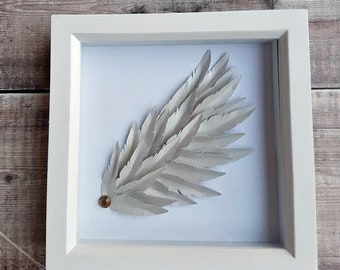 angel wing, angel wing gifts, framed angel wings, angel feathers, feathers in frame, memorial frame, Personalisation Also Available