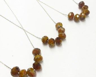 Dainty Amber Glass Necklace with Silver Plated Chain