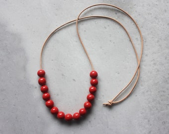 Handmade ceramic necklace, red beaded necklace
