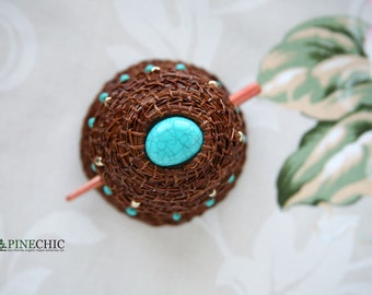 Large hair slide with wooden stick, pine needle hair bun holder, beads barrette, bun cover, mum days, gift for mother, eco gift