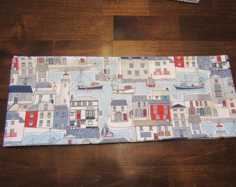 Decorative fishing village, seaport, nautical themed themed pillow cover in blues, whites and reds, throw pillow, sofa pillow, accent pillow