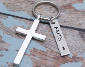 Faith Cross Key Chain, Cross Key Chain, Faith Keychain, Personalized Cross Keychain, Confirmation Keychain,  Cross Gift, Pewter Keychain