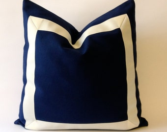 Navy Blue Off White Cotton Canvas Pillow Cover with  Grosgrain Ribbon- Decorative Throw Pillow Cover - Cushion Cover