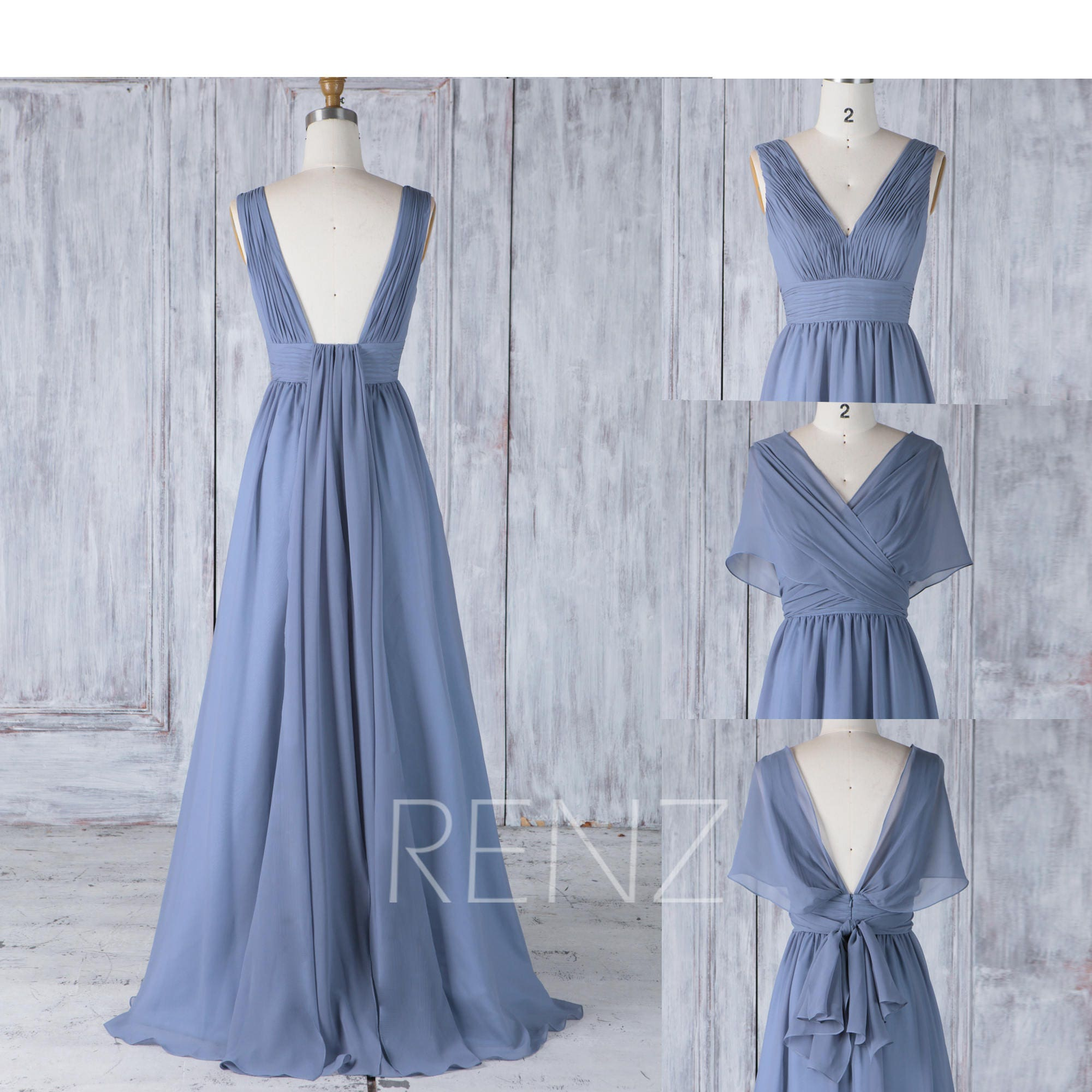 Bridesmaid Dress Steel Blue Chiffon Wedding DressConvertible