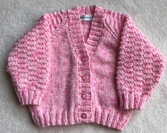 Knitted baby cardigan, pink knitted baby cardigan, baby sweater, hand knitted baby clothes, size 3-6 months, pink knitted baby sweater,