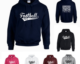 Football Mum Adults Hoodie Hooded Sweatshirt - Funny/Sport/Support - Print on Front and Back