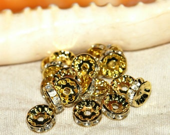With 10 mm gold rhinestone rondelle spacers X 10