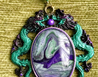 Beautiful handmade and hand painted dragon necklace