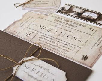 Vintage Movie Cinema Ticket Wedding Invitation | Themed, Film, Theater, Filmstrip
