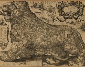 Poster, Many Sizes Available; Map Of Belgium As Leo The Lion 1611