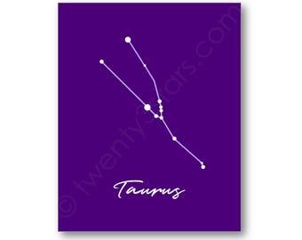 Taurus Star Poster, Constellation Star Map Art, Taurus Gift, Taurus Wall Art, Taurus Canvas, Custom Taurus Art, Zodiac Art Print, Taurus Art