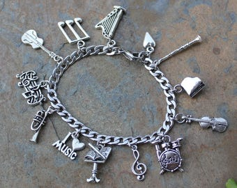 Musician Stainless Steel & Pewter Charm Bracelet - music notes + musical instruments charms -orchestra, band, teacher - Free Shipping USA