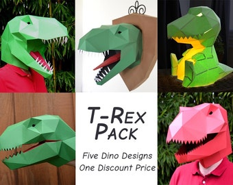 T rex wall trophy papercraft pattern t rex plaque dinosaur t rex pack five patterns 33 off tyrannosaurus mask lamp solutioingenieria Choice Image